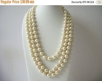 ON SALE Vintage 1950s Glass Dipped Knotted Long 60 Inches Faux Pearl Necklace 8316