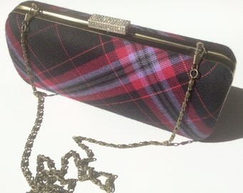 Pink and black tartan/plaid clutch bag with chain