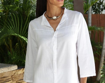 "Organic Gauze Cotton 3/4  Sleeves Pleated    ""Tamya"" Tunic Top"