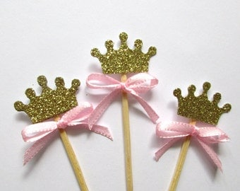 12 Princess Crown Cupcake Toppers - Princess Party - Princess Toppers - Pink Birthday - Princess Theme Party -Glitter Crown Cupcake Toppers