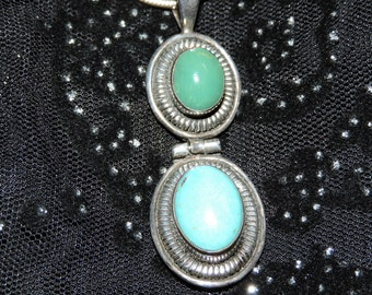 Turquoise Blue and Green Stones Necklace Sterling Silver