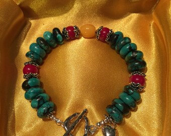 Genuine Turquoise/Red Coral/Baltic Amber/sterling silver/Bracelet/gift for her