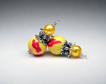 2 Red and Pink Flowers on Lemon Yellow Background Bead Dangles or Earrings-Handmade Bead Dangles 10mm Round Handmade Polymer Clay Beads
