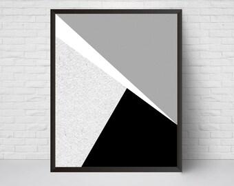 Geometric Grey Wall Art Print, Black and White Printable Art, Mid Century Modern Geometric Art, Home room Wall Decor, Abstract artwork,