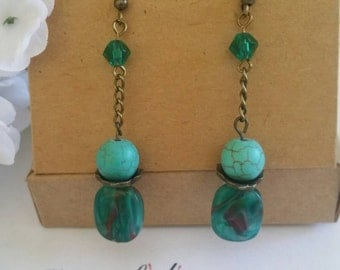 Teal green/sea green glass beaded antique bronze, turquoise dangle drop earrings.