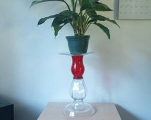 Red Plant Stand, Repurposed Plant Stand, Plant Stand, Glass Stand, Indoor Plant Stand, Decorative Stand
