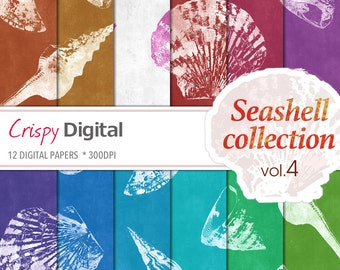 Sea Shell Digital Papers Vol. 4 12pcs 300dpi Digital Download Scrapbooking Printable Paper Sea Shell Collage Sheets