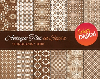 Antique Tiles Sepia Digital Papers 12pcs 300dpi Digital Download Collage Sheet Scrapbooking Printable Paper