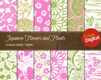 Japanese Pattern Flowers and Plants Digital Papers Vol. 2  12pcs 300dpi Instant Download Asian Printable Paper