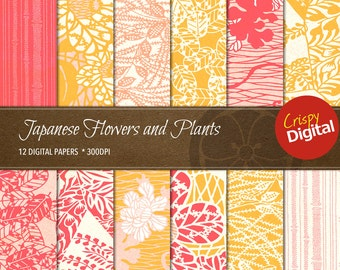 Japanese Pattern Flowers and Plants Vol. 6 Digital Papers 12pcs 300dpi Digital Download Collage Sheets Scrapbooking Printable Paper