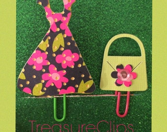 Retro Dress with Matching purse Planner/Bookmark Clip