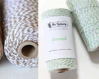 The Twinery Stripe Twine (PER METRE) - Cappuccino, Seaweed
