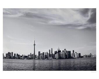 Urban Photography PRINT, Toronto Skyline, Black and White, Wall Art