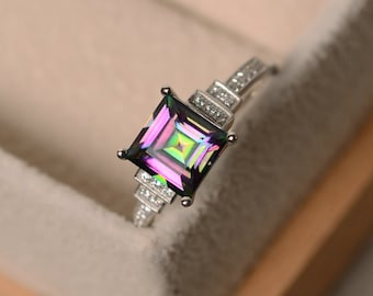 Mystic topaz ring, sterling silver, square cut ring, engagement ring