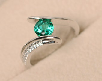 Emerald ring, wedding ring, green emerald ring, green gemstone ring, promise ring, sterling silver