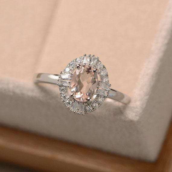 Morganite Engagement Ring Oval Cut Morganite Sterling