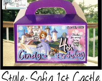 Sofia the 1st Birthday Goody Box Favors Personalized with your childs name etc.