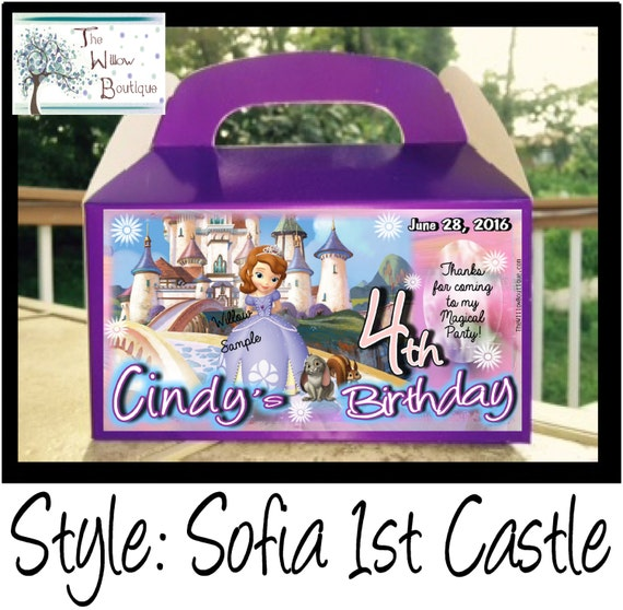 Personalized 1st Birthday Favor Boxes : Sofia the st birthday goody box favors personalized with your