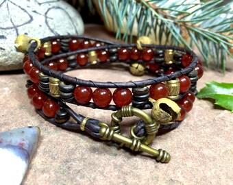 wrap bracelet in carnelian, bone & brass