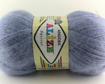 Yarn Angora Special by ALIZE Yarn knitting crochet 550m 100g / The thinnest fluffy soft yarn of monophonic coloring / Set of 5 skeins