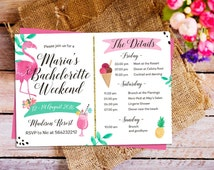 Flamingo Bachelorette Party Itinerary Invitation, Bachelorette Schedule Timeline, Summer Bachelorette Party, Bachelorette Weekend invitation