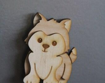 Wooden 3D Puppy Magnet