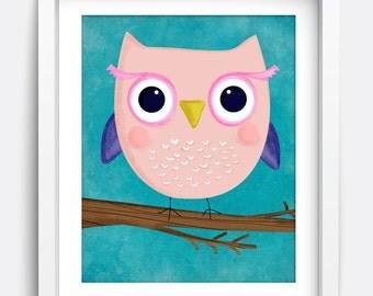 Owl Printable Wall Art | Instant Download Printable Art, Nursery Art, Kids Wall Art, Home Decor, Wall Art, Art Prints, Girls Room, Cute Art