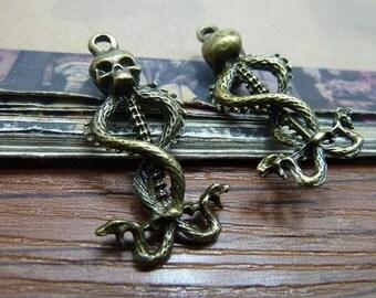 10 Skull Charms Antique Bronze Tone Snake walking stick - WS6666