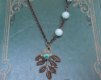Branch Necklace / Assemblage Aqua Jade Bead Antiqued Bronze Brass Leaf Charm Pendant Turquoise Bell Flower Jewelry Vintage Inspired #1513