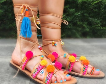 Gladiator Bohemian Pom Pom Sandals   Lace up Sandals /  Summer Ethnic Sandals/Handmade Decorated Greek Leather Sandals