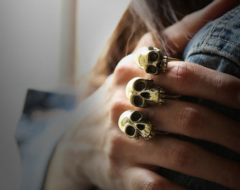 Three Human Skulls Double Ring by Defy - Unique and Original Design Jewelry