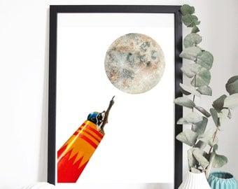 "Poster ""TINY RACOON WHITE"" 30 x 40 cm - Illustration for children's bedroom - design handpainted - graphic Poster"