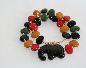 Kazuri Beads Handmade handpainted necklace,gift for her,mothers gift, made in kenya beaded necklace,statement jewellery