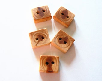 5 square Juniper wood buttons, wood buttons for knitting, crochet and sewing