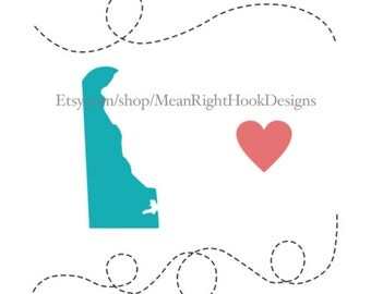 Delaware SVG state silhouette, heart svg, and dotted lines, Mug svg, INSTANT DOWNLOAD vector files for cutting machines - svg, png, dxf, eps