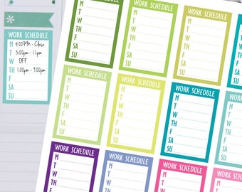 Planner Stickers - Weekly Work Schedule Sidebar Sticker - Fits Erin Condren and Happy Planner
