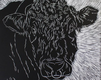 Black Lino Print- Cow design 3. (with background)