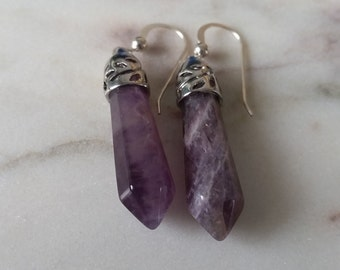 Sterling Silver Amethyst Crystal Point Earrings