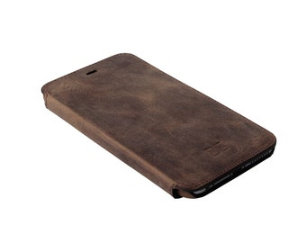 iPhone 6s Plus Slim Wallet Case, iPhone 6 Plus Leather Case, Birthday Gift, Elegant Case, in AnticCoffee