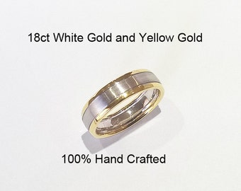 18ct 18k 750 Solid White Gold and Yellow Gold Ring Wedding Engagement Friendship 6.3mm Width  - HJ83
