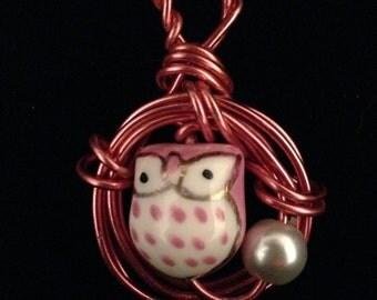 Valentine Owls pink wire pendant necklace