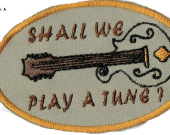 MANDOLIN  Shall We Play A Tune?  Iron On Patch