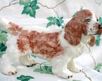 SALE: Vintage dog figurine; OOAK spaniel figurine; hand painted dog figurine; collectible spaniel figurine; Springer Spaniel; B-16