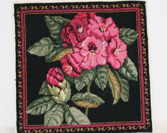 Crewel embroidery Rhodendron; large crewel embroidered floral; vintage crewel embroidery; rose colored rhodendron