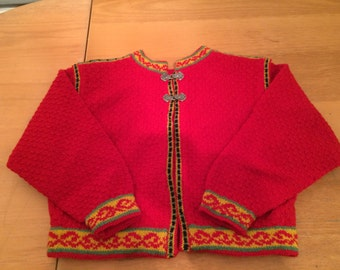 Hand knitted hand finished woollen child's jacket