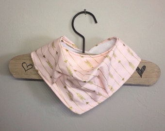 Bandana Drool Bib- pink with gold arrows
