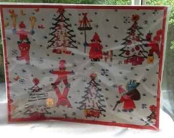 Vintage set of 8 Caspari Christmas Place Mats-Danish Gnomes-Made in Denmark