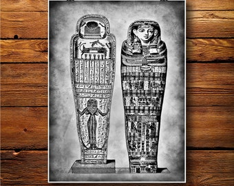 Egyptians Tombs Print,  Royal Poster, Pharaoh Art Decor, Antique Art BW501