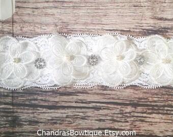 White Lace Flower and Rhinestone Headband - Baby Girl Headband - Baby Headband - Baby Bows - Infant Headband - Headband for Babies - Girls