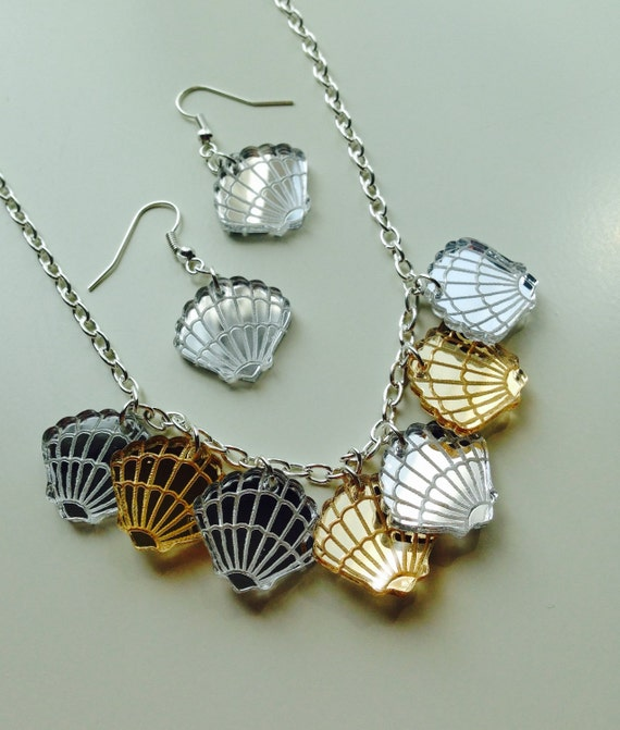 Pocket Full Of Shells | Shell | Mermaid | Nautical | Scallop Shell | Mirrored | Laser Cut | Acrylic | Necklace | Earrings | Set